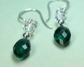 Green Quartz Earrings, Green Christmas Earrings, Crystal Quartz, Blue Green Gemstone, Green Dangle