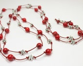 Red Coral Gemstone Necklace, Natural Stone Long Necklace, Handknotted Red Leather Necklace, Double Necklace