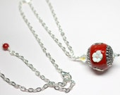 Red Pendant Necklace, Red...