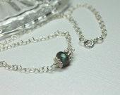Labradorite Sterling Silver Choker, Semiprecious Gemstone Jewelry, Dainty Choker, Minimalist, Blue Flash Stone, Simple Necklace