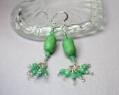 Green Howlite Dangle Earrings, Chandelier Earrings, Long Drop Earrings, Howlite Gemstones and Crystals, Boho Chic Beaded Earrings