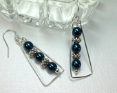Hematite Dangle Earrings, Iridescent Blue, Pewter Beads, Handmade Wire Wrapped Earrings, Silver Beaded Triangle, Gift For Her