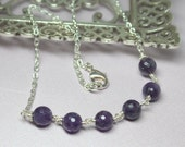 Amethyst Necklace, Purple Gemstones, Amethyst Silver Necklace, Layering Necklace, February Birthstone, Beaded Necklace