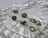 Labradorite Earrings, Iridescent Gray Green Dangle Earrings, Long Sterling Silver Earrings, Labradorite Gemstones