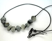 Tiger Eye Necklace, Natural Gray Gemstones, Handknotted Necklace, Mens Necklace, Minimalist, Black Leather Beaded Necklace
