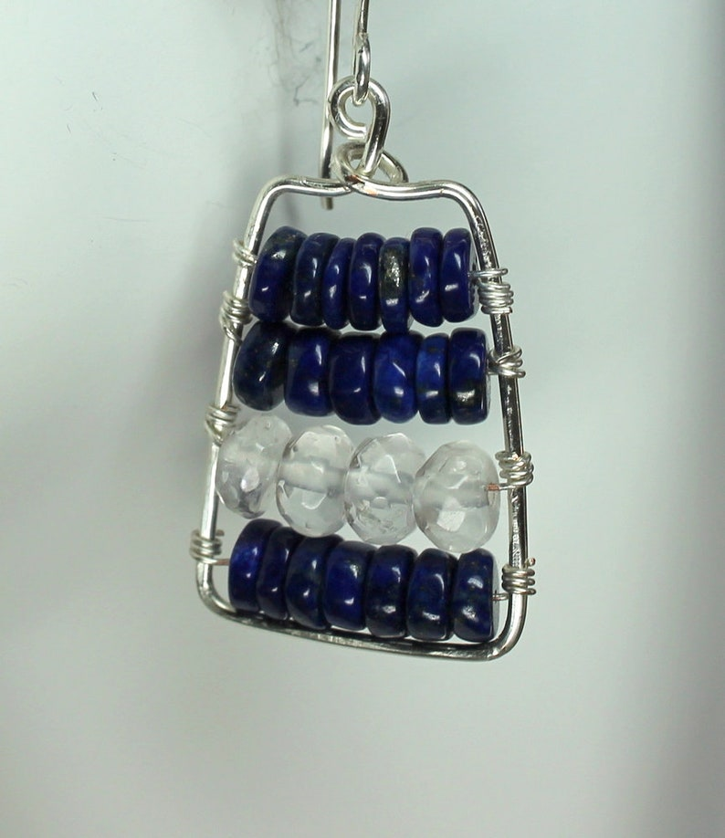 Lapis Lazuli Earrings Rectangle Silver Earrings Protection Stone Lapis Dangle Earrings Bohemian Lapis Jewelry Dark Blue Lapis