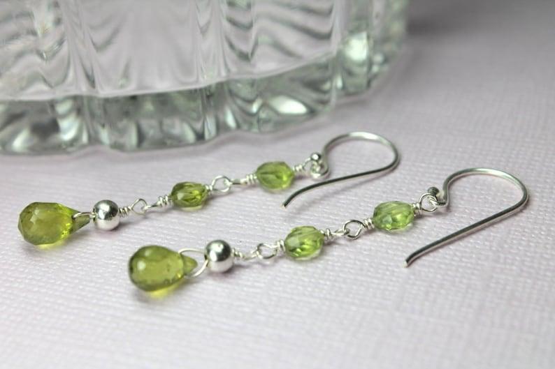 Green Gemstones August Birthstone Silver Peridot Earrings Handmade Dangle Earrings Long Peridot Earrings Long Drop Earrings