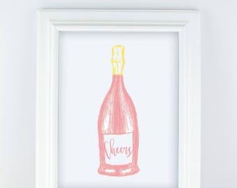 Sparkling Rosé Print - Pink Champagne Print - Champagne Art - Bar Cart Print