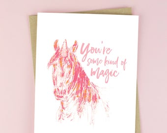 Unicorn Valentine card - You're some kind of magic card - Magic Valentine - pink unicorn Valentines