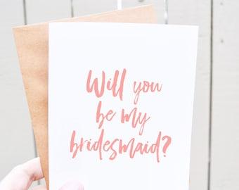 Will you be my bridesmaid card - bridesmaid ask - pink bridesmaid card