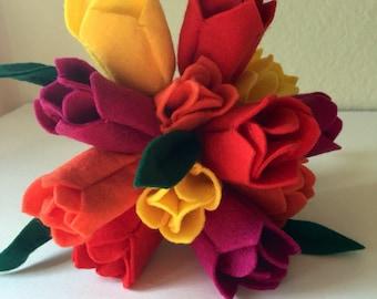 Tulip Bouquet Handmade Felt Spring Flowers