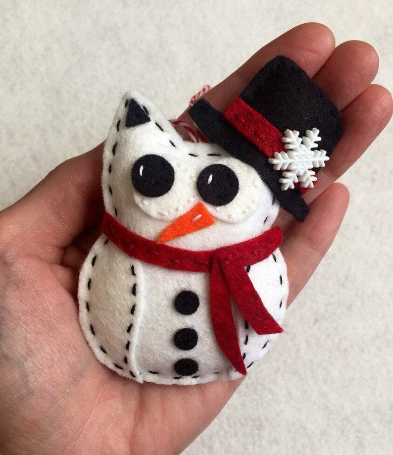 Felt Snowman Owl Ornament  with Scarf and Top Hat image 0