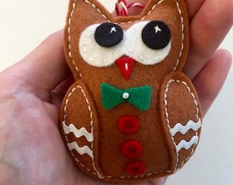 Felt Gingerbread Man Owl Ornament