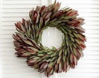 "Fresh Handmade Safari Sunset Wreath- Greenery Wreath -  20"" for Front Door, Holiday Wreaths, Christmas Gift, Winter Wedding"