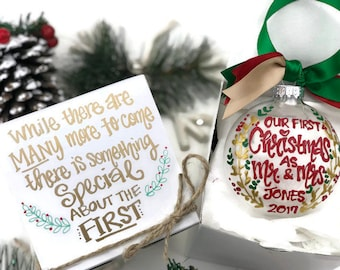 hand painted our first christmas married ornament with gift box merry christmas newlyweds wedding mr and mrs 2018 christmas wedding