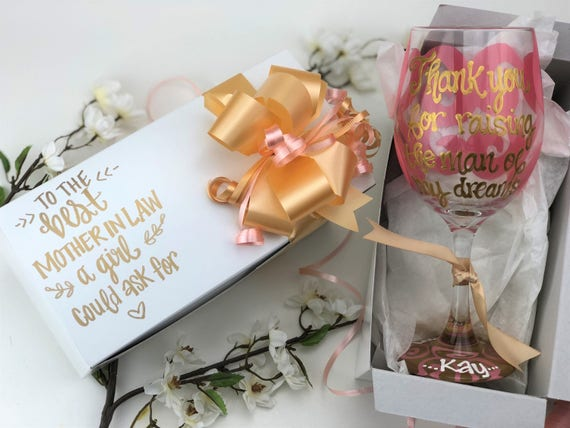 Wedding Thank You Gift Engraved Wine Glass Boxed Present