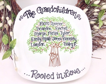 The Original Grandmother Nana Family Tree Grandchildren Personalized Custom Name Grandparents Grandma Plate