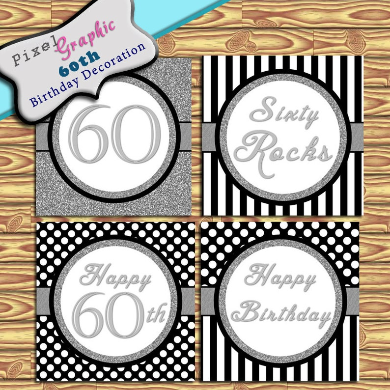 60th Birthday Decoration Instant Download Black Silver