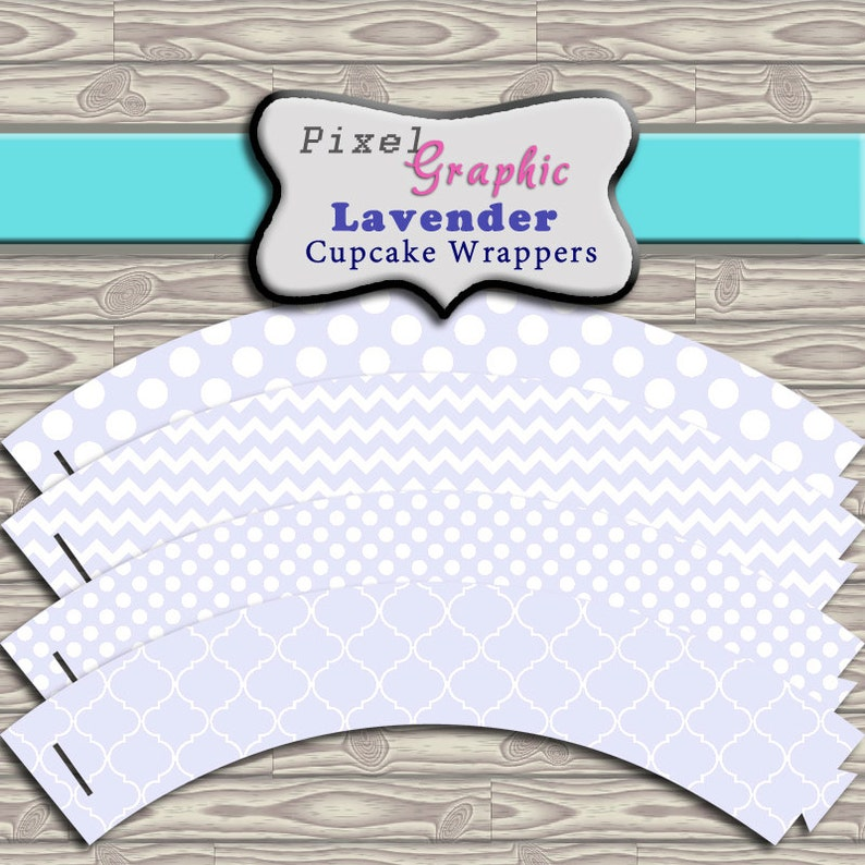 Cupcake Wrappers Lavender Printable Instant Download Cupcake Liner for Birthday parties Baby Showers