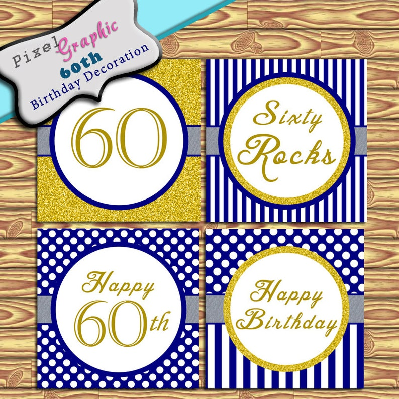 60th Birthday Decoration Instant Download Blue Gold Stripe