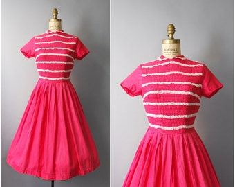 1950's Jonathan Logan Pink Cotton Dress • small