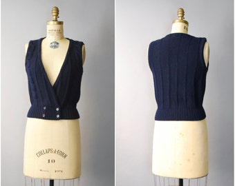 1970's Navy Blue Wool Vest • small