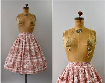 1950's novelty print pink and white cotton skirt • small