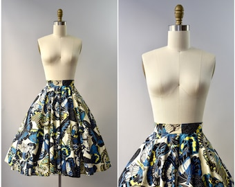 1950's novelty butterfly print full cotton skirt •  xxs