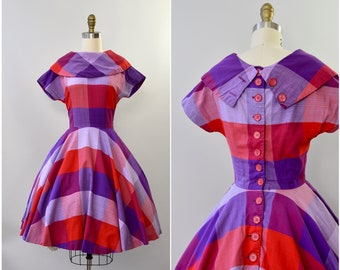 1950's Carol Craig purple plaid cotton dress with buttons •  xs