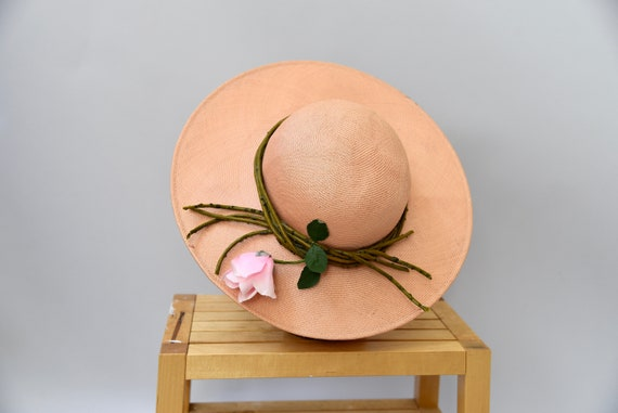 1950's blush pink straw hat with matching rose