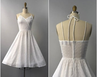 SUMMER SALE 1970's Lanz Originals white eyelet cotton sun dress • small
