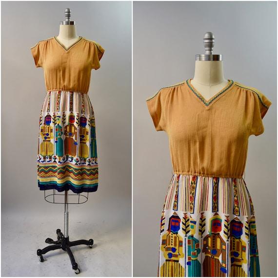 1970's novelty print fall day dress • medium