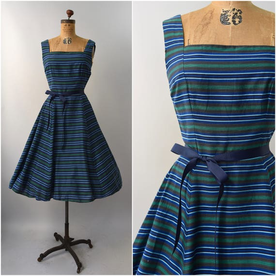 1950's blue and green striped cotton sun dress • s