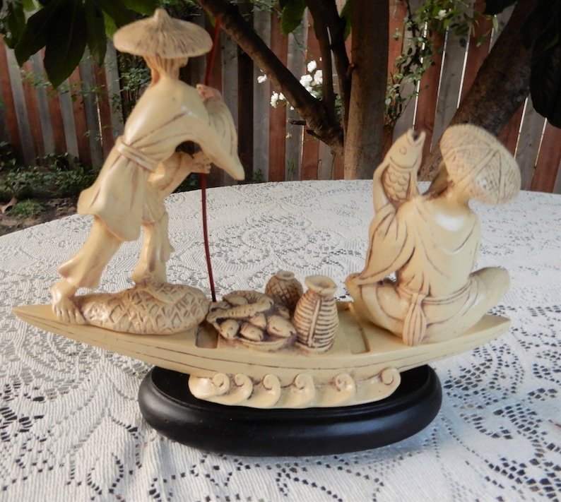 Resin Figurine Chinese Fishermen on a Boat