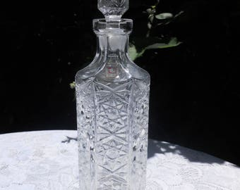 Vintage Lead Crystal Decanter/Carafe, Mid Century Decanter, Brandy Decanter, Cognac Decanter,Barware. Made in Italy