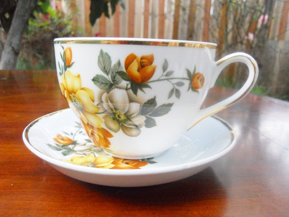 Extra Large Tea Cup With Beautiful Flowers Etsy