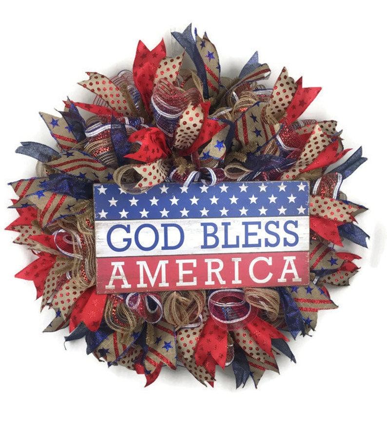 GOD BLESS AMERICA 4TH OF JULY DECORATION VETERANS DAY