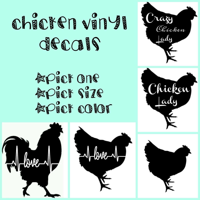 Chicken vinyl Decals, car decals, yeti decals, chicken love, crazy ...