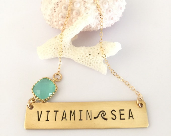Vitamin Sea Stamped Bar Necklace Name Plate Bridesmaids Beach Necklace Wedding Mothers Day Friend Gift Brass Gold Customized Personalized