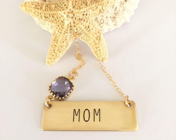 Mom Stamped Gold Fill Bar Necklace Nana Grandma Gigi Mimi Gaga Nona Gma Grandmother Stamped Custom Personalized Mom Name Necklace