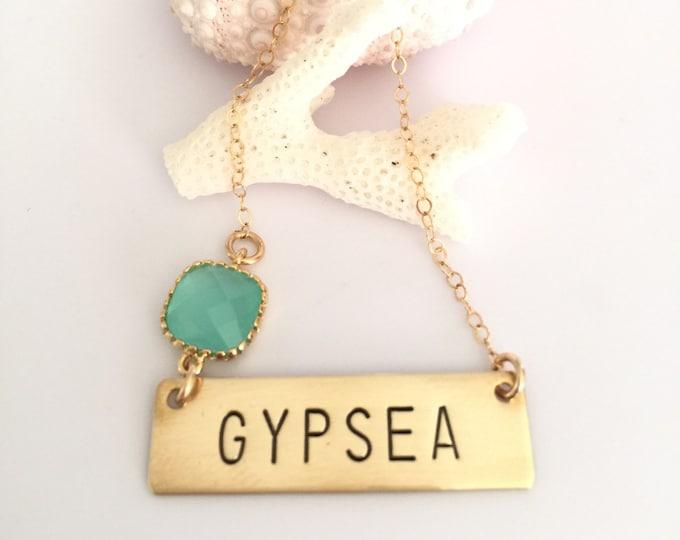 GYPSEA Stamped Bar Bohemian Name Plate Layering Boho Necklace Free Spirit Gift Traveler Wanderlust Gypsy Ocean Beach Gold Sea Hippie Salty