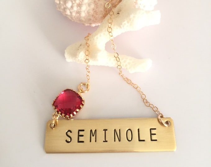 Seminole Florida FSU Football Custom Bar Necklace Team Necklace Customizable Personalized Seminoles