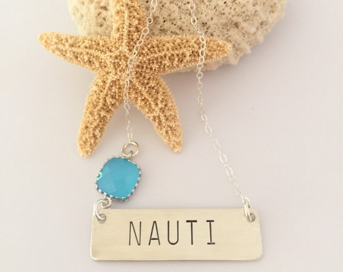 Sterling silver NAUTI Stamped Bar Necklace Beach Nautical Seaglass