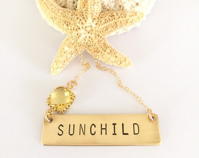 Sunchild Bar Necklace Gold Fill Boho Layering Moonchild Celestial Ocean Mermaid Wild Free Spirit Gold Gift Friend Bohemian Gypsy Wanderlust