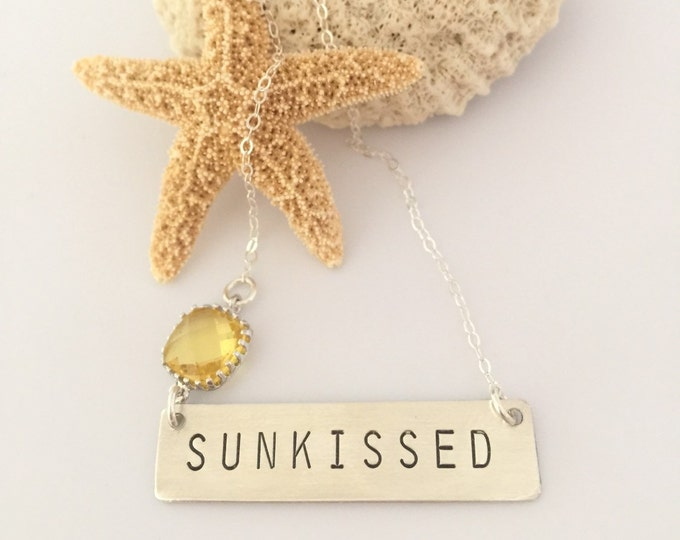 Sunkissed Stamped Sterling Silver Bar Bohemian Nautical Layering Boho Beach Necklace Mothers Day Gift Friend Wedding Anniversary Personalize