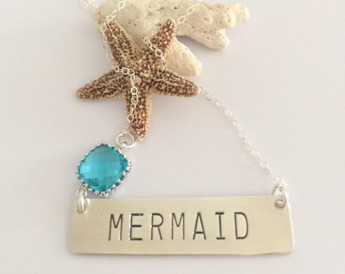 MERMAID Sterling Silver Stamped Nautical Beachglass Bohemian Anchor Custom Bar Necklace Bridesmaids Friend Gift Mothers Day Graduation Beach