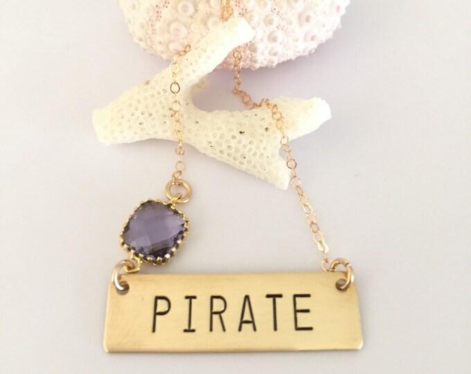 Pirate Bar Necklace ECU East Carolina Greenville Nameplate Stamped Pirates Outer Banks