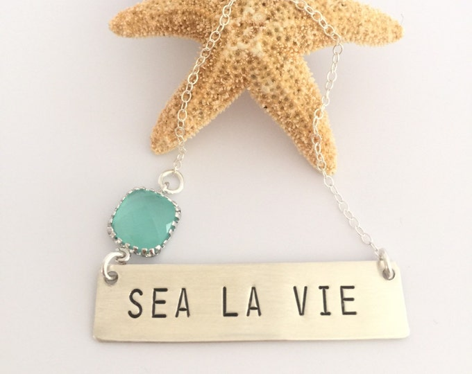 Sea La Vie Stamped Sterling Silver Bar Necklace