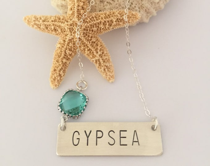 GYPSEA Stamped Silver Bar Name Plate Layering Bohemian Boho Necklace