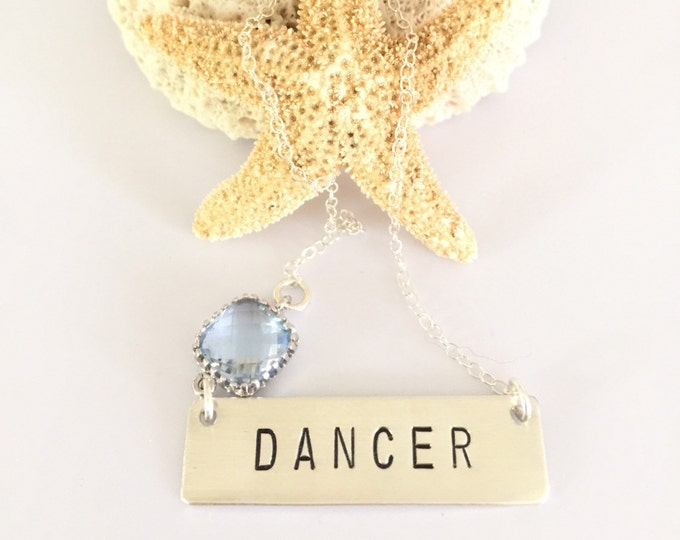 Dancer Stamped Sterling Silver Bar Necklace Gift Ballet Family Love Layering Boho Dancing Dance Ballerina